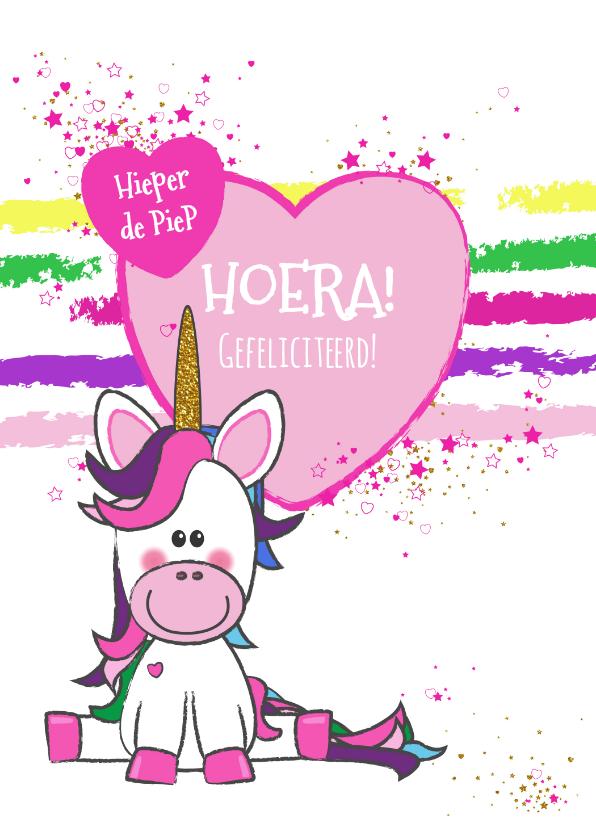 Kinderkaarten - Kinderkaart vrolijke kaart met een unicorn en hartjes