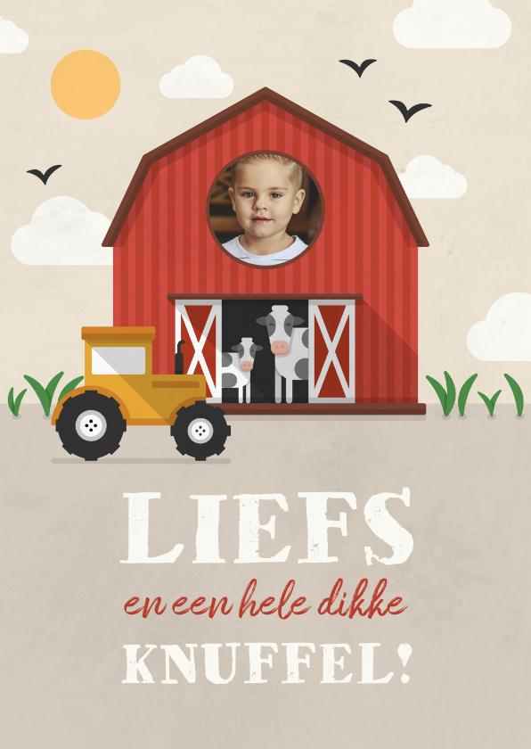 Kinderkaarten - Kinderkaartje boerderij thema met foto