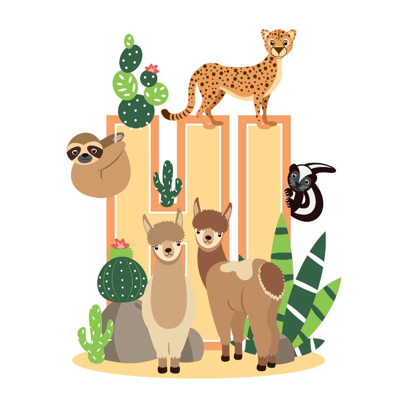 Kinderkaarten - Kinderkaartje met lieve dieren uit de woestijn die hi zeggen