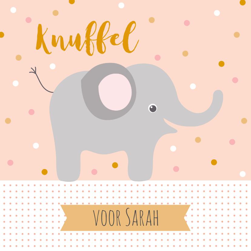 Kinderkaarten - Lieve kaart met knuffel en olifant