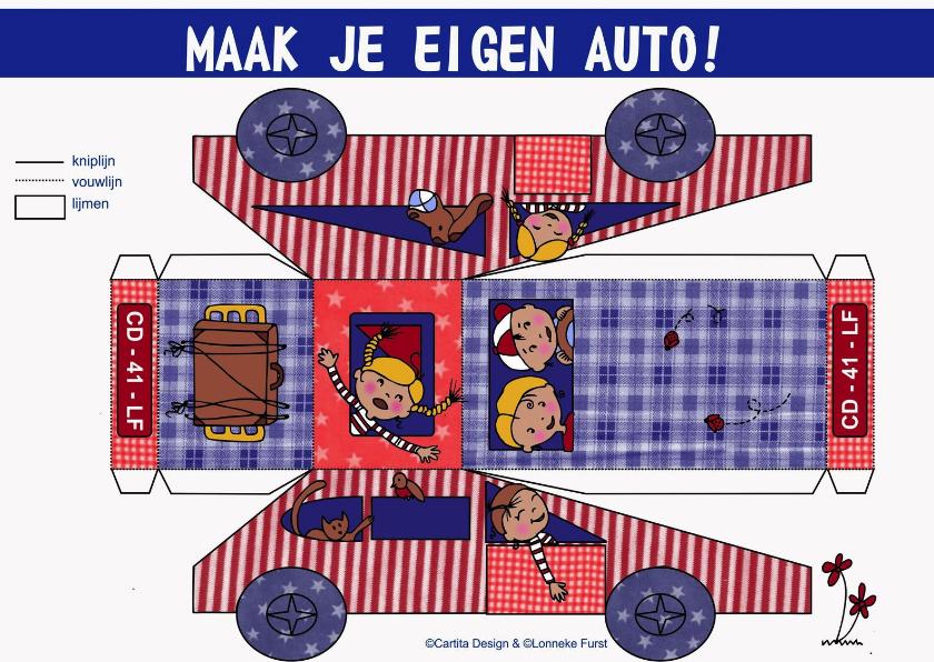 Kinderkaarten - Maak je eigen auto Jongen DIY knutsel kaart