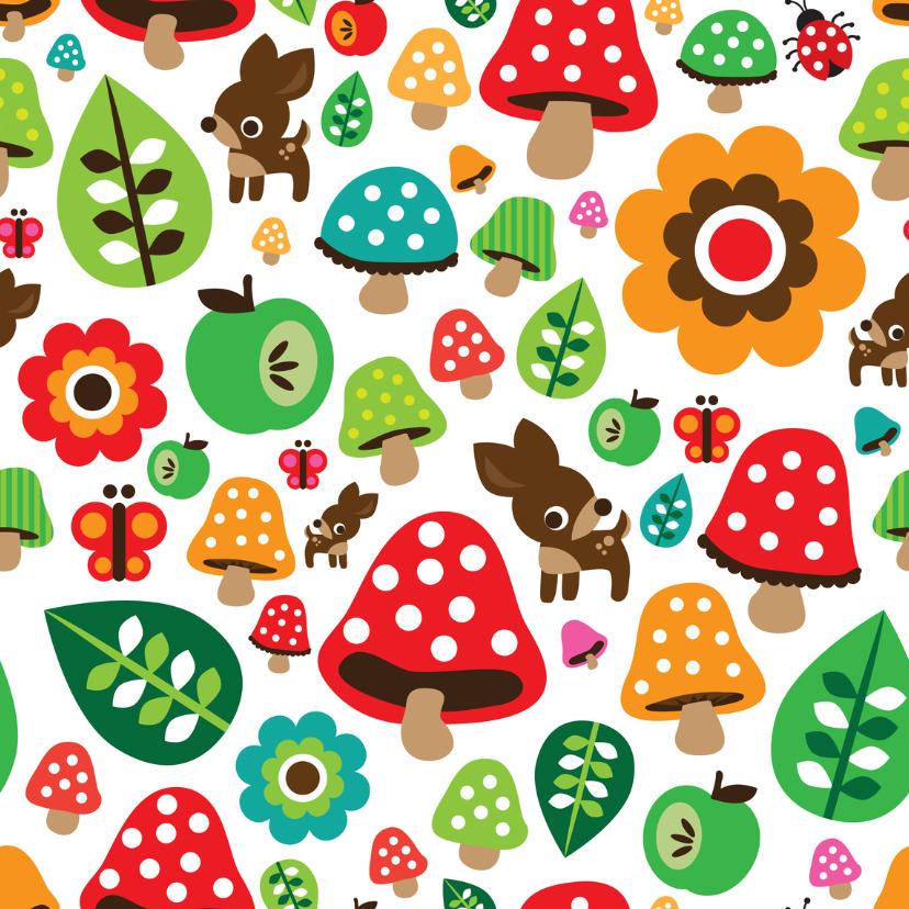 Kinderkaarten - Paddestoel hertje appel natuur kaart