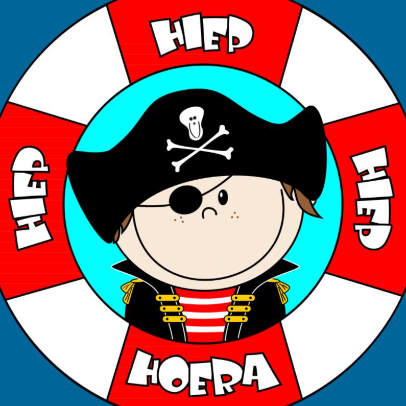 Kinderkaarten - PIRAAT Hiep hiep hoera piraatje