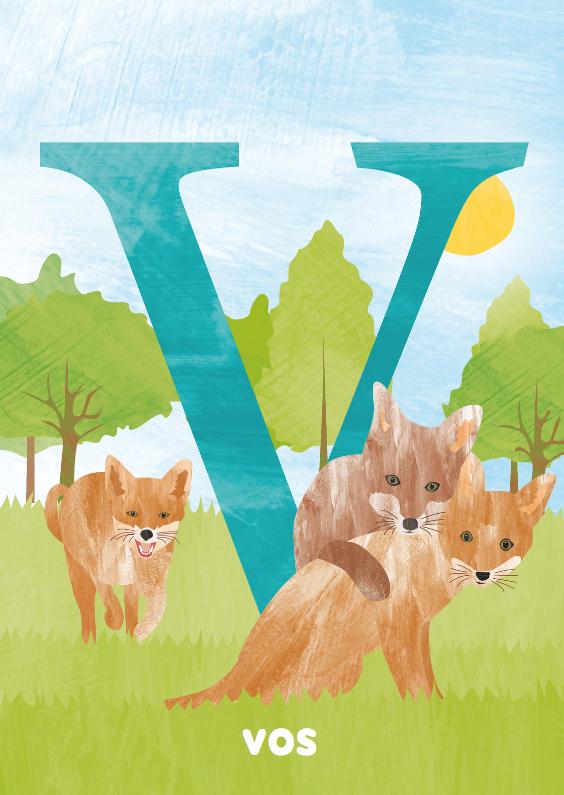 Kinderkaarten - V van vos