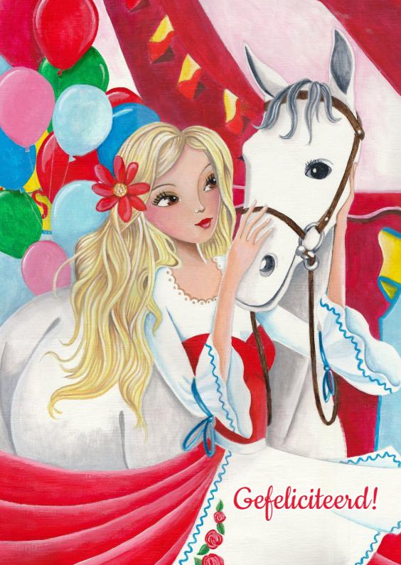 Kinderkaarten - Verjaardag paarden meisje