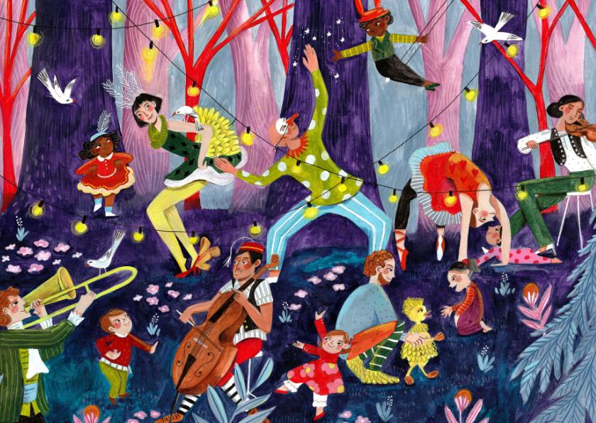 Kinderkaarten - Verjaardagskaart circus in het bos
