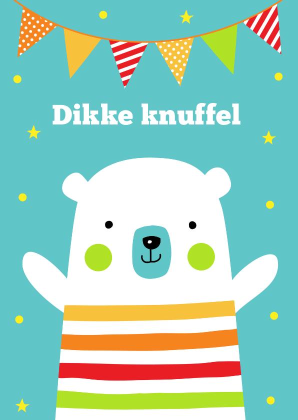 Kinderkaarten - Verjaardagskaart ijsbeer slinger