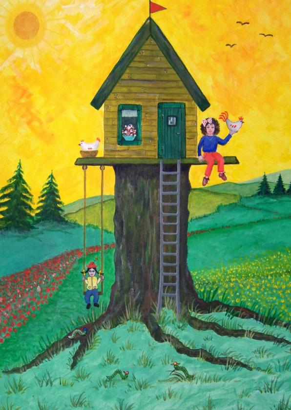 Kinderkaarten - Vrolijke kinderkaart kinderen bij een boomhuis