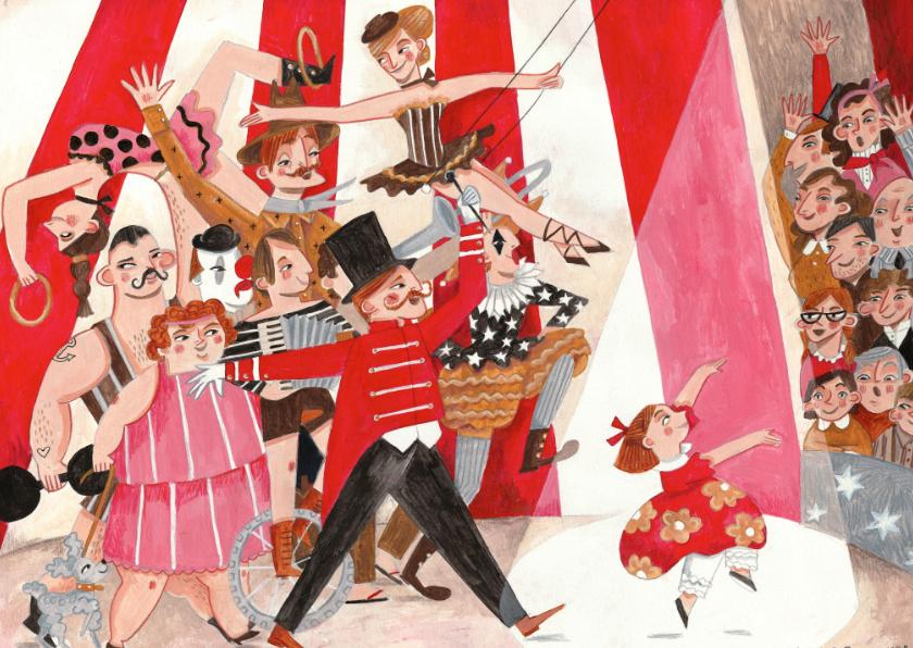 Kinderkaarten - Vrolijke kinderkaart met een meisje en het circus