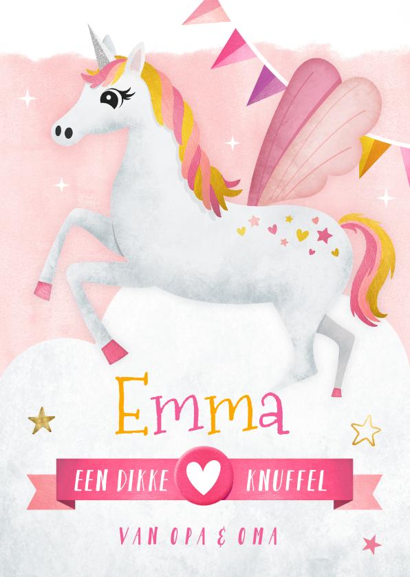 Kinderkaarten - Vrolijke roze kinderkaart met eenhoorn voor een meisje