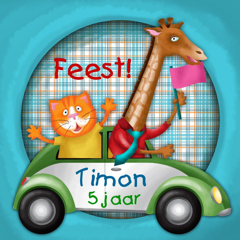 Kinderkaarten - YVON straat kat giraf auto kinderkaart