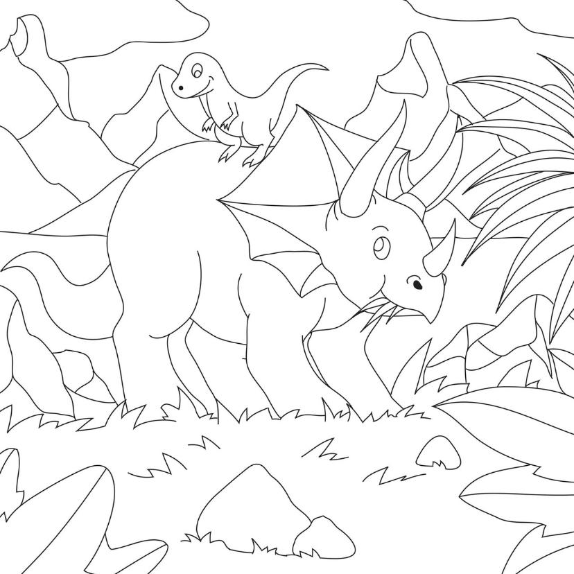 Kleurplaat kaarten - Dino vriendjes