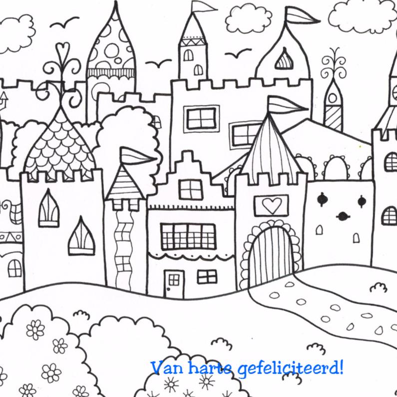 Kleurplaat kaarten - Kasteel voor stoere jongens en meisjes
