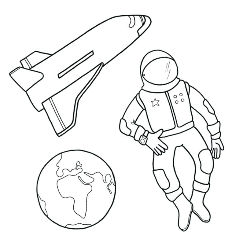 Kleurplaat kaarten - Kleurplaat Astronaut