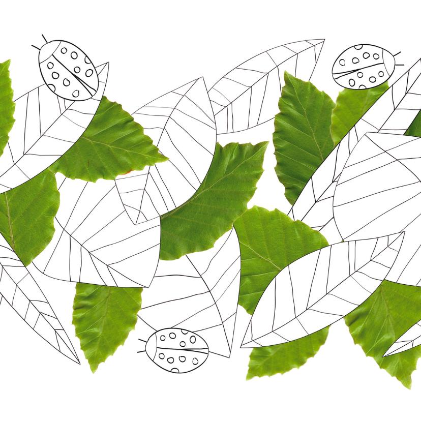 Kleurplaat kaarten - Kleurplaat met bladeren