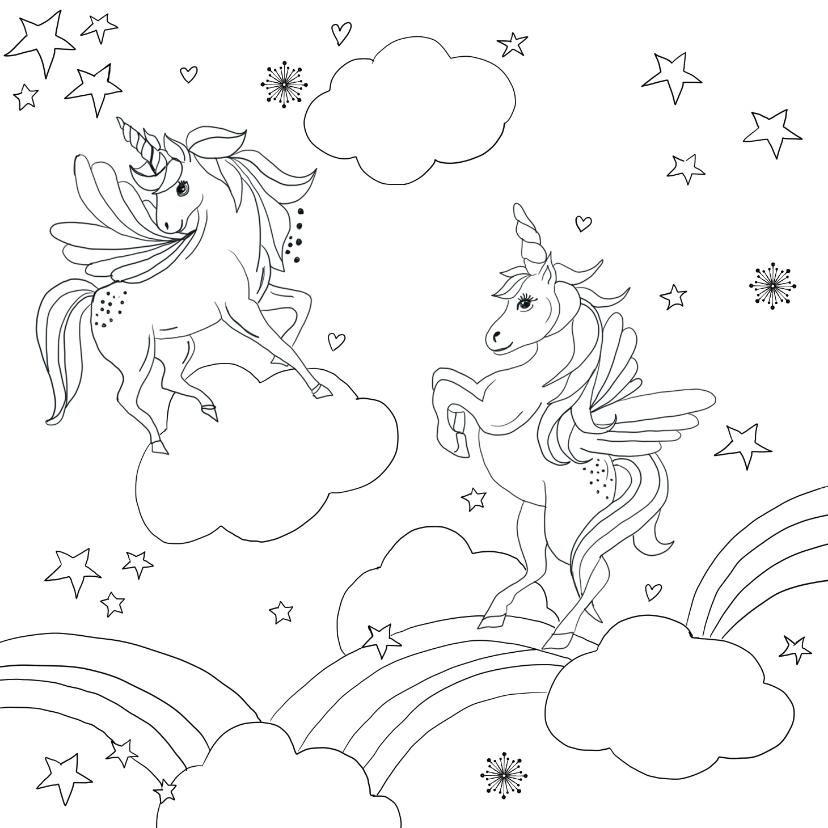 kleurplaat unicorn regenboogjes kaartje2go