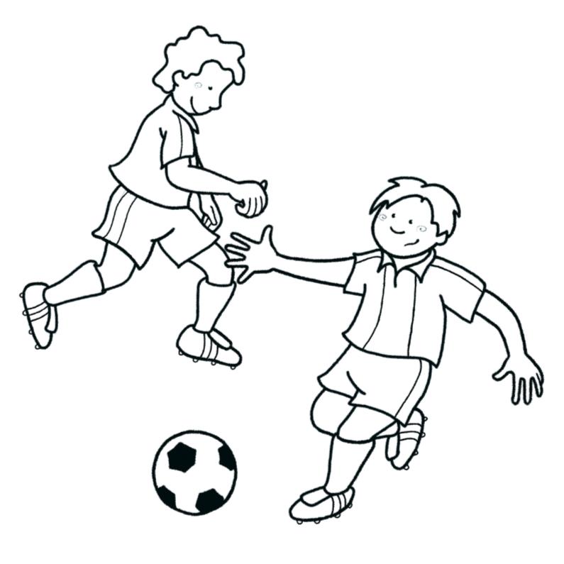 Kleurplaat kaarten - Kleurplaat Voetballende jongens