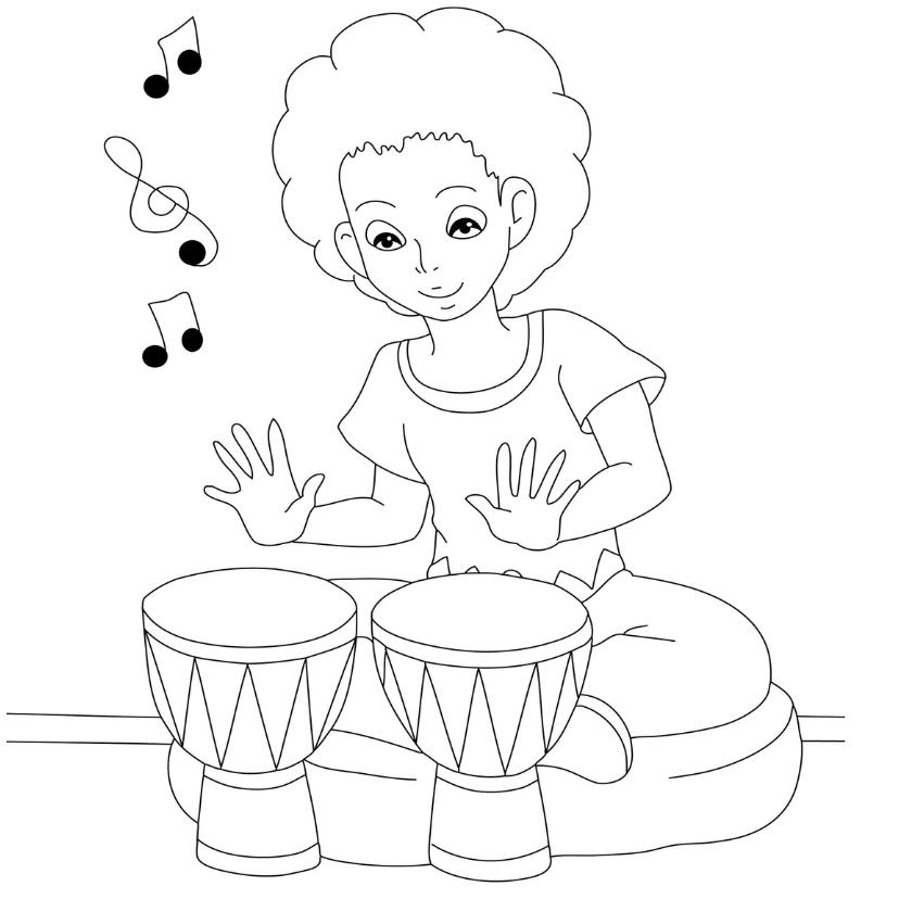 Kleurplaat kaarten - kleurplaatkaart bongos- MT
