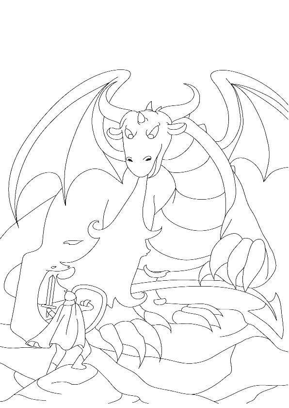 Kleurplaat kaarten - kleurplaatkaart De boze draak