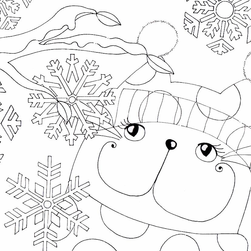 Kleurplaat kaarten - Kleurplaatkaart kat in de winter - SK