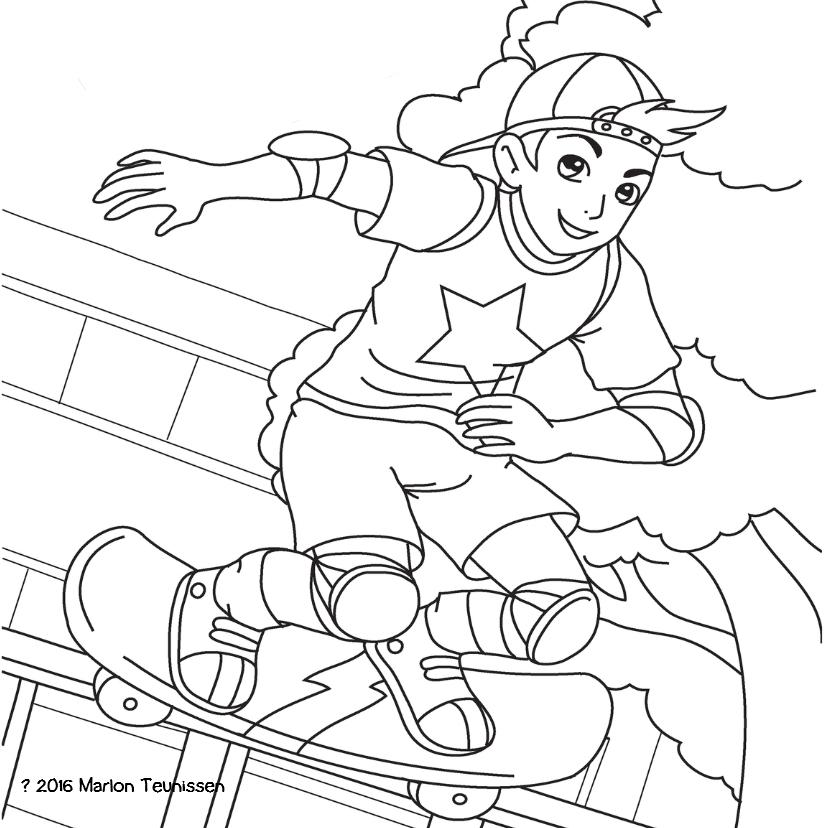Kleurplaat kaarten - kleurplaatkaart skater- MT