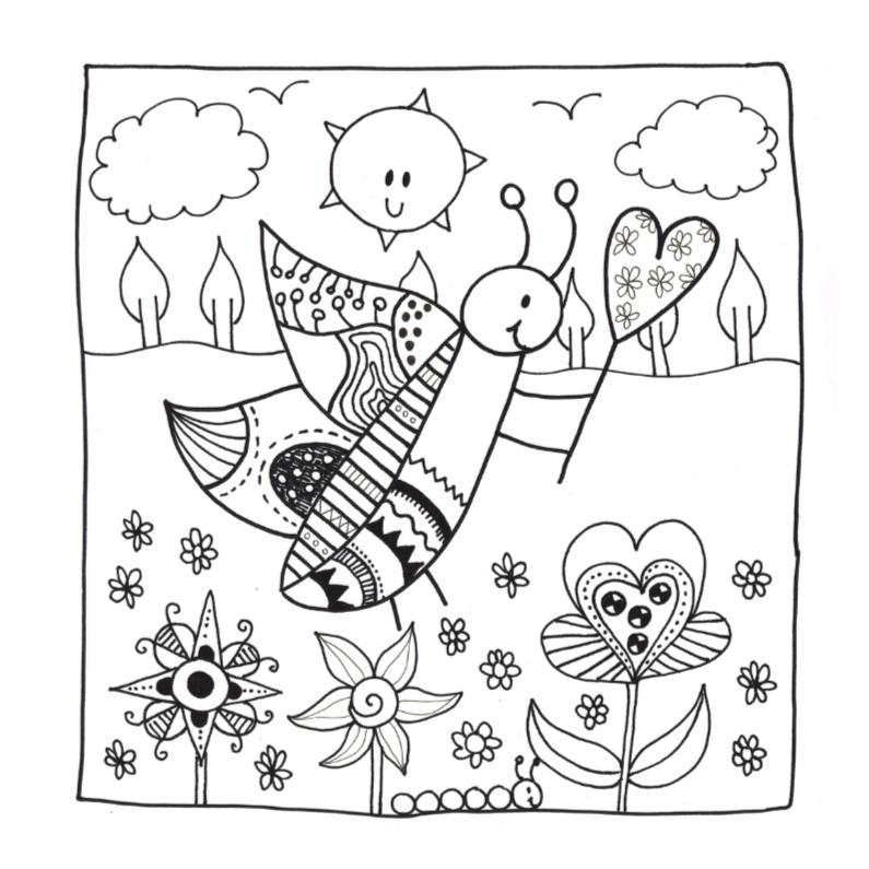 Kleurplaat kaarten - Lente vlinder kleurplaat