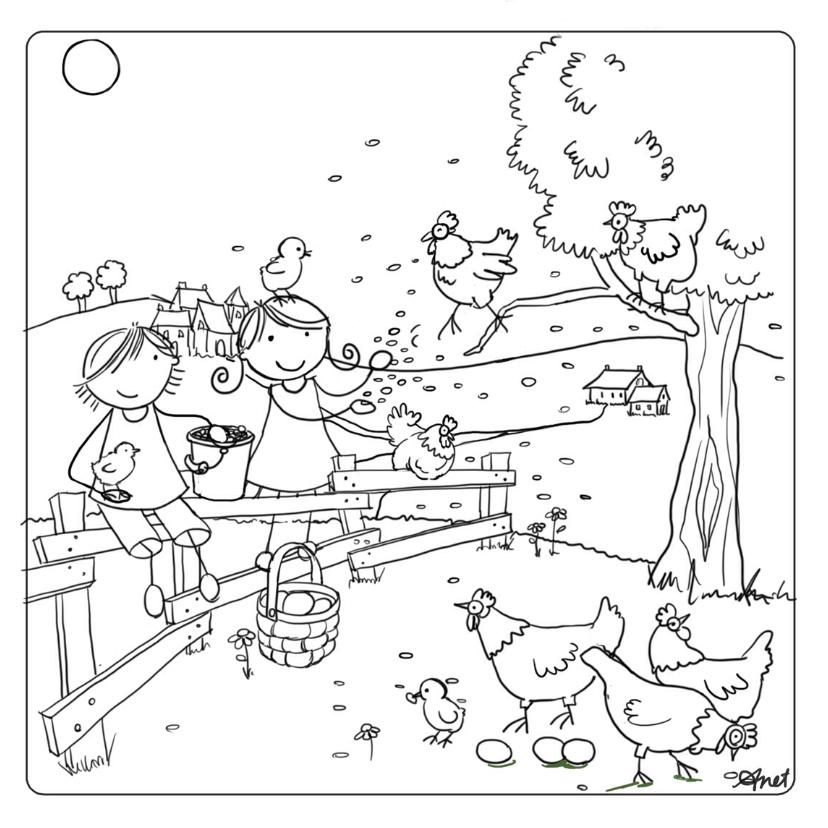 Kleurplaat kaarten - Pien en Mees met kippen
