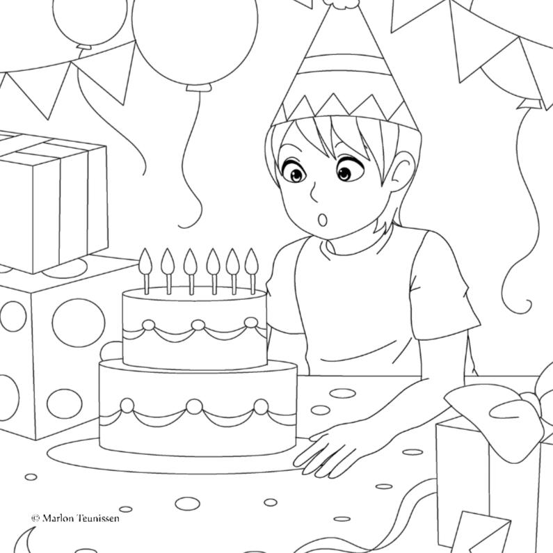 Kleurplaat kaarten - verjaardags feestje