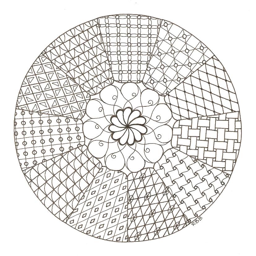 Kleurplaat kaarten - Zentangle mandala kleurkaart met 11 delen