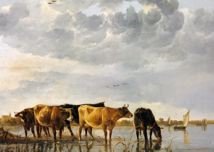 Kunstkaarten - Albert Cuyp. Koeien in een rivier
