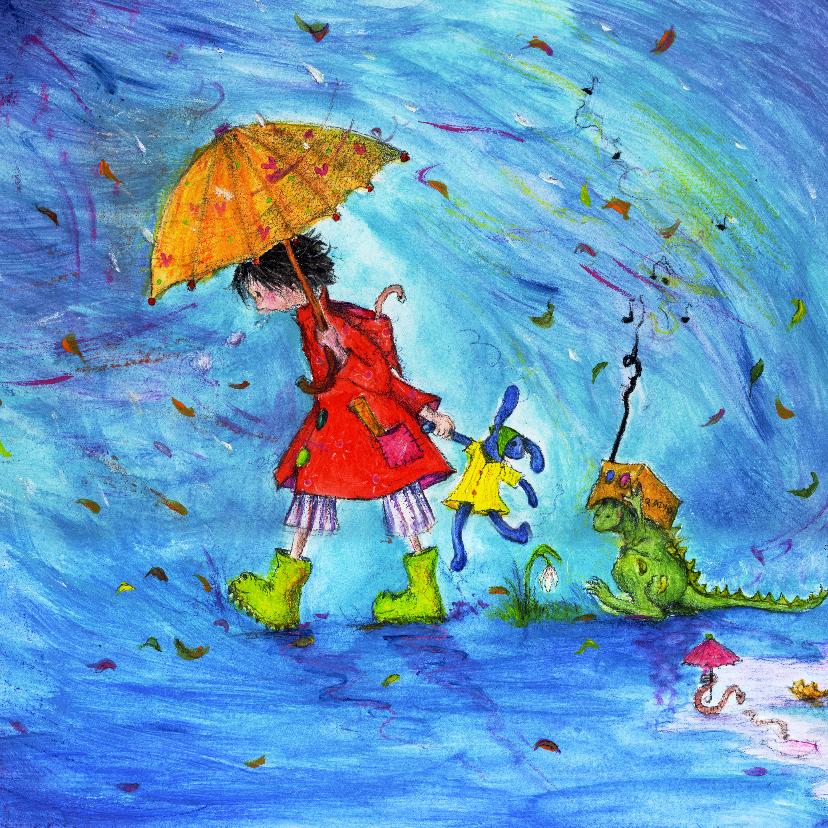 Kunstkaarten - Beterschapskaart een regenachtige dag!