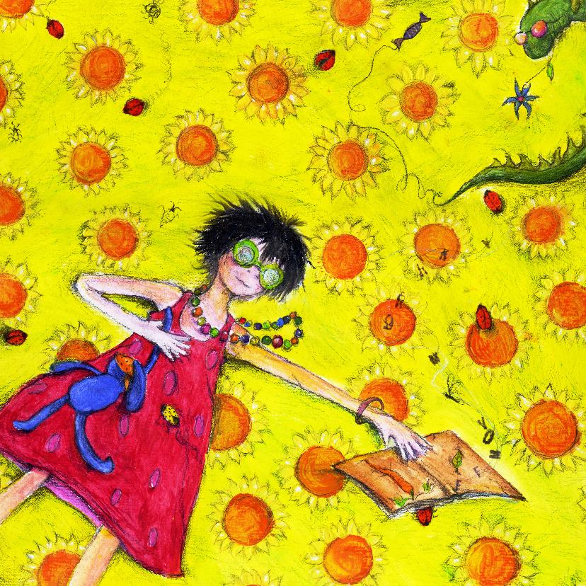 Kunstkaarten - Bloemenkaart met zonnige groeten