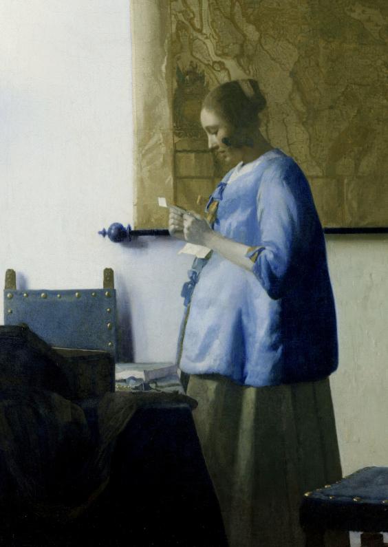 Kunstkaarten - Brieflezende vrouw - J. Vermeer