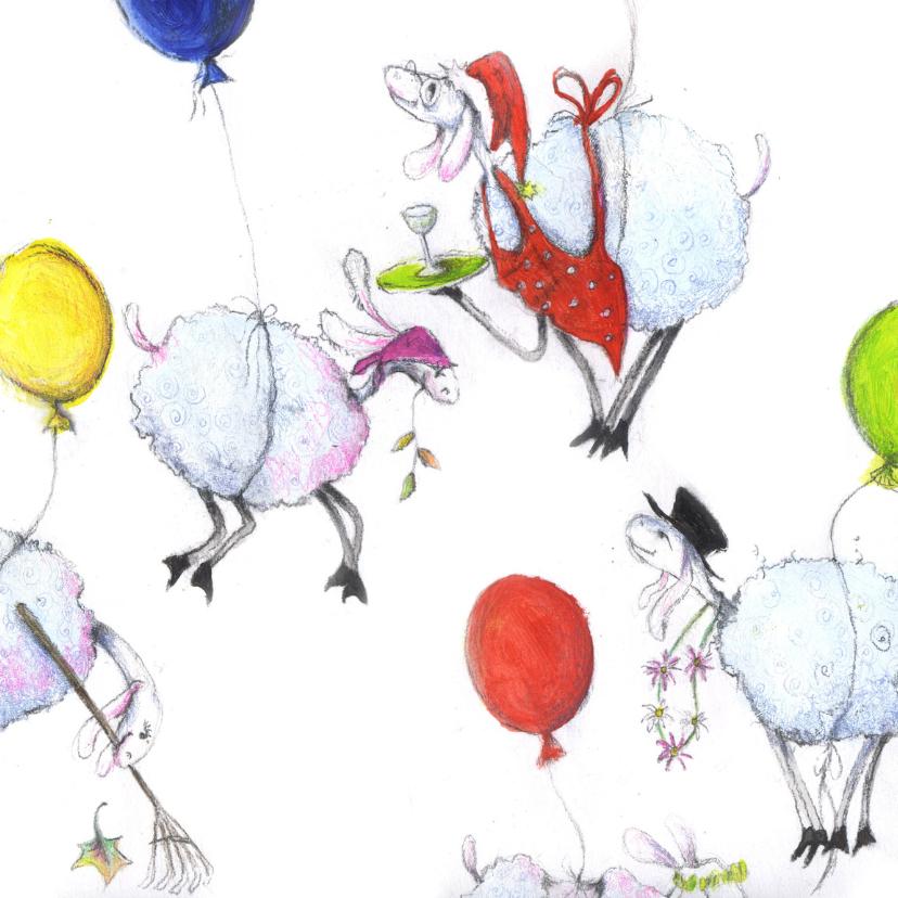 Kunstkaarten - Dierenkaart allemaal schaapjes