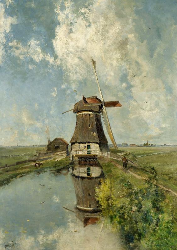 Kunstkaarten - Een molen aan een poldervaart