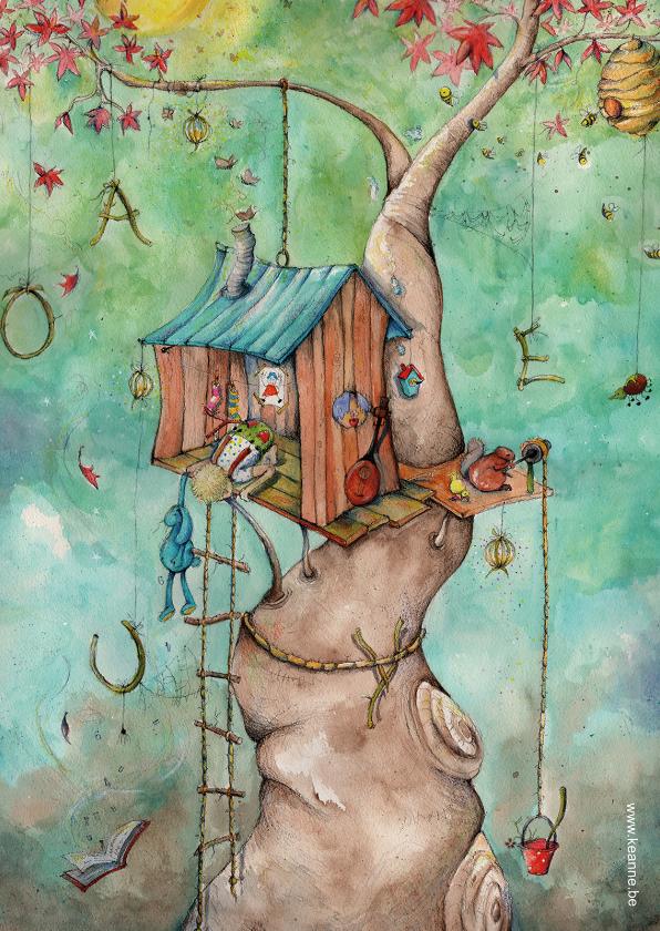 Kunstkaarten - Felicitatiekaart een eigen droomhuis