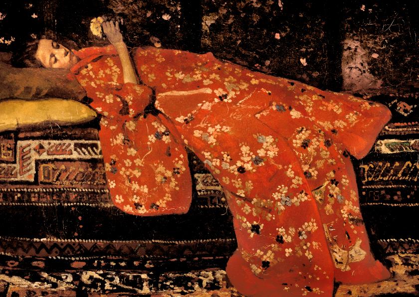 Kunstkaarten - George Breitner. Meisje in rode kimono (Geesje Kwak)