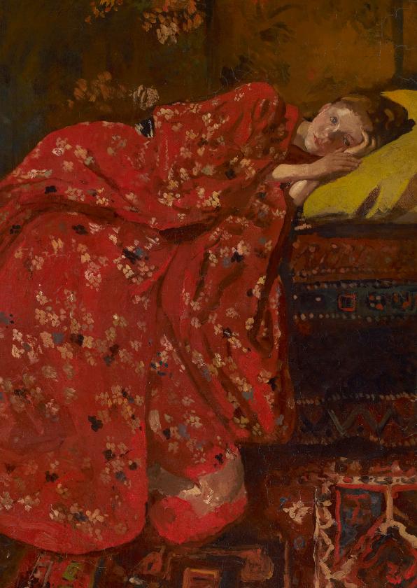 Kunstkaarten - George Breitner. Meisje in rode kimono