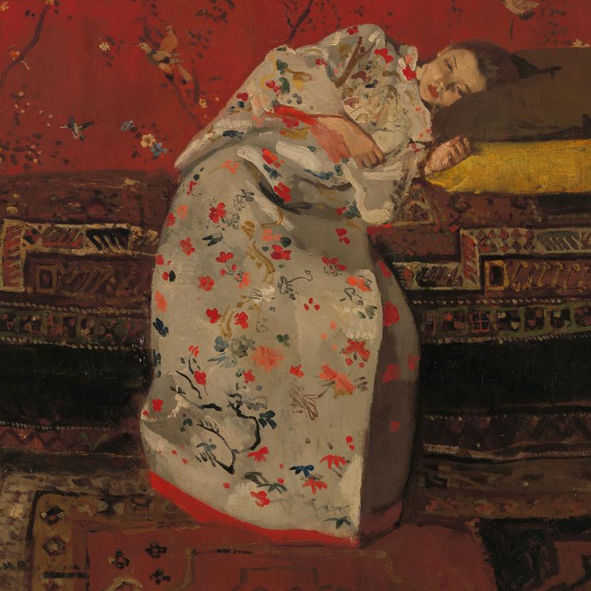Kunstkaarten - George Breitner. Meisje in witte kimono op sofa