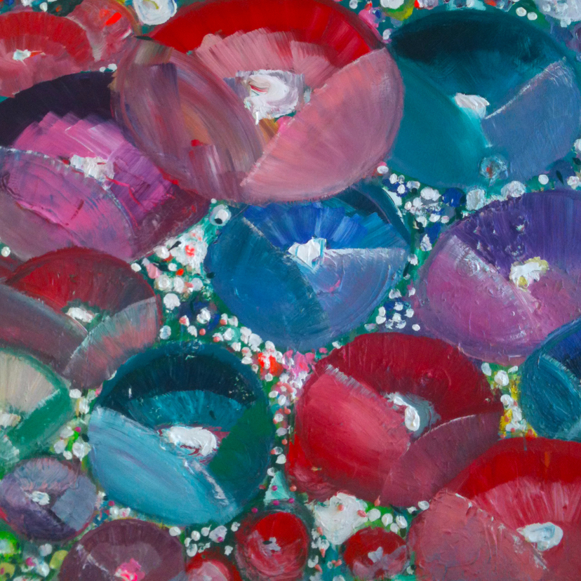 Kunstkaarten - Geschilderde bloemen abstract