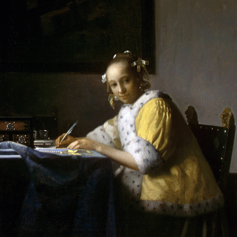 Kunstkaarten - Johannes Vermeer. Schrijvende vrouw