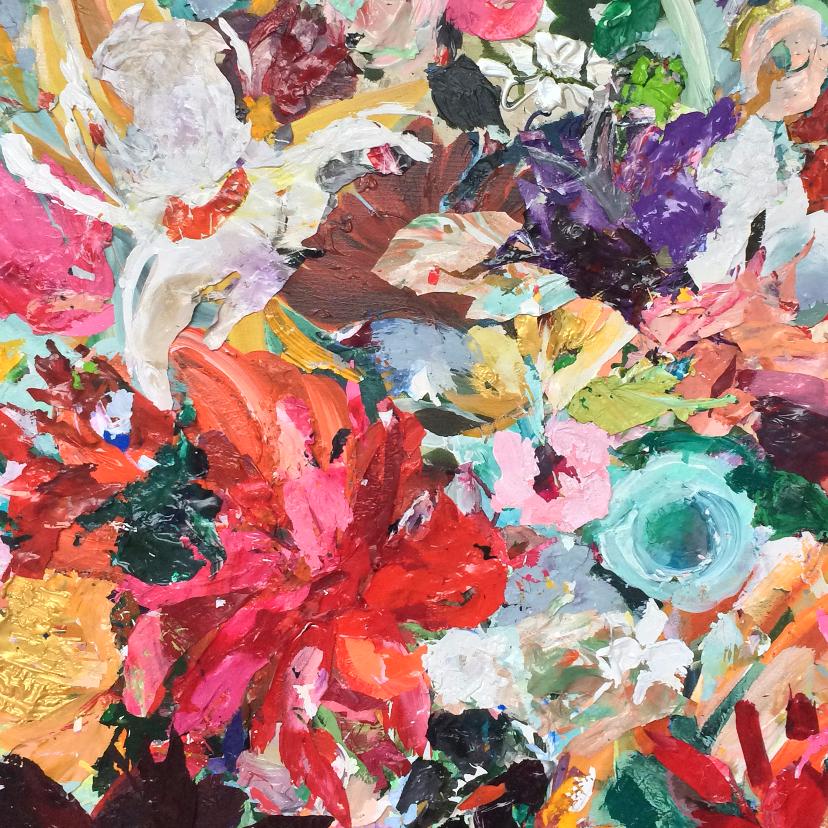 Kunstkaarten - Kunst kleurrijke bloemen