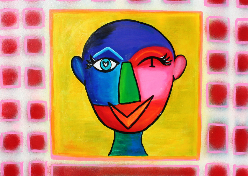 Kunstkaarten - Kunstkaart abstract hoofd