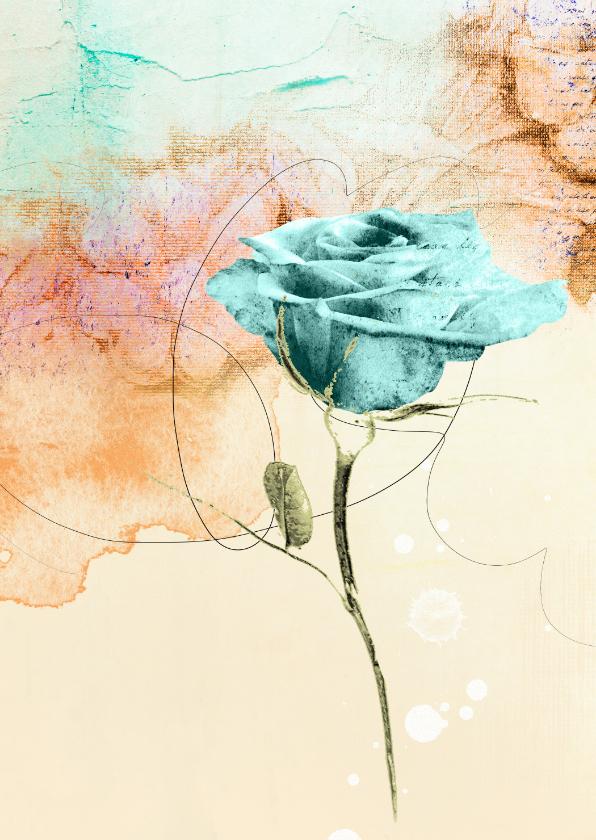 Kunstkaarten - Kunstkaart blauwe roos