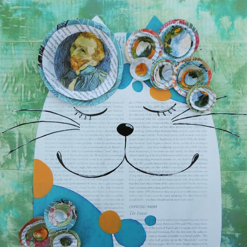 Kunstkaarten - Kunstkaart - De kat van Vincent - door Sonja Kemp