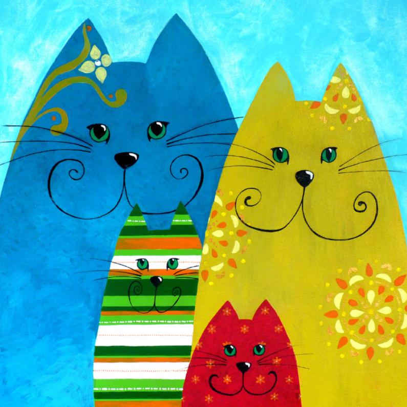 Kunstkaarten - Kunstkaart eigenwijze katten