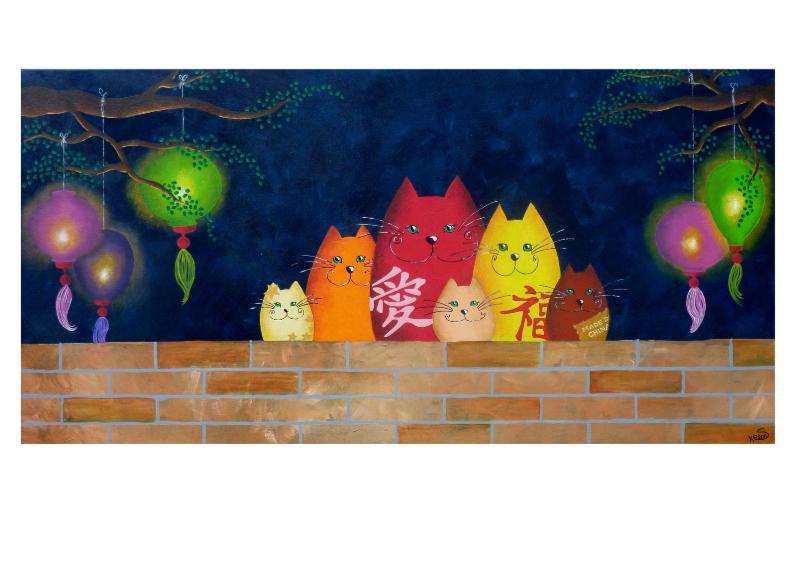 Kunstkaarten - Kunstkaart Katten uit China - Sonja Kemp
