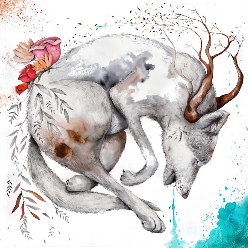 Kunstkaarten - Kunstkaart met krachtige wolfachtig dier