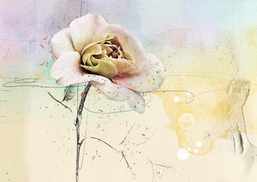 Kunstkaarten - Kunstkaart roos pastel kunst