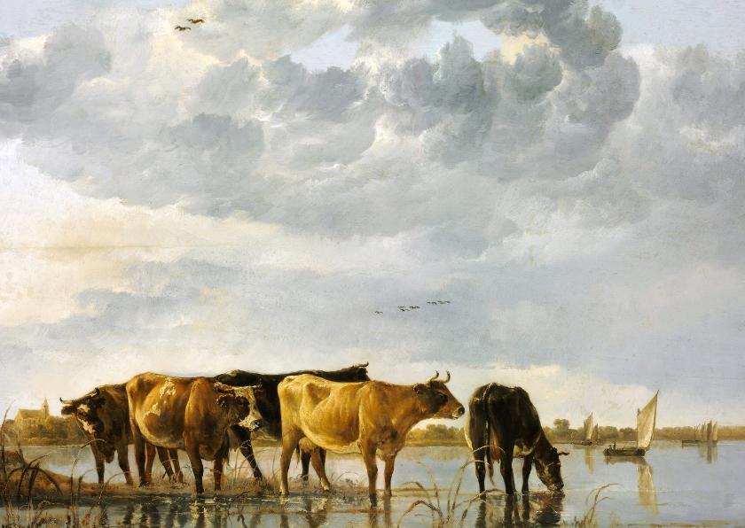 Kunstkaarten - Kunstkaart van Aelbert Cuyp. Koeien in een rivier